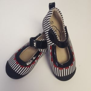 Madie Jane Black and White Striped Mary Jane Shoes